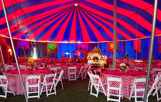 A colorful look at the setup under the Big Top tent