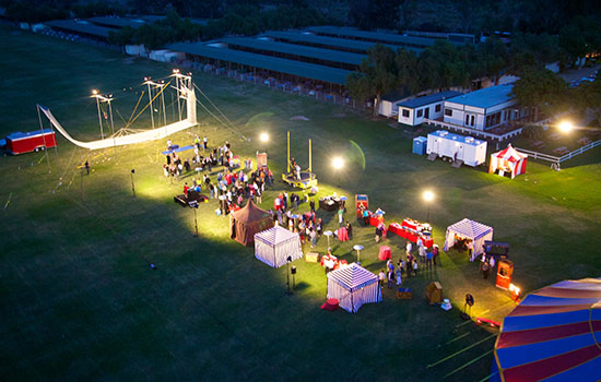 An aerial shot of a carnival event